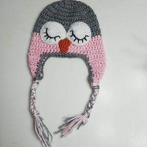 Pink and grey Owl beanie